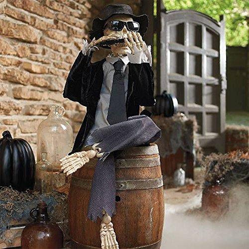 Blues Man Bones Harmonica Playing Skeleton Animated Halloween Prop Decoration Plays Harmonica, Sounds, Sound Activated, Animatronic, Battery (Halloween Animatronic)