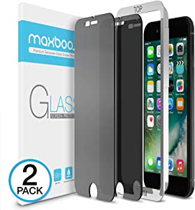 Maxboost Privacy Screen Protector Compatible with Apple iPhone 8 Plus and iPhone 7 Plus (2-Pack) Anti-Spy Tempered Glass Screen Protector Premium Anti-Scratch/Fingerprint Pack of 2