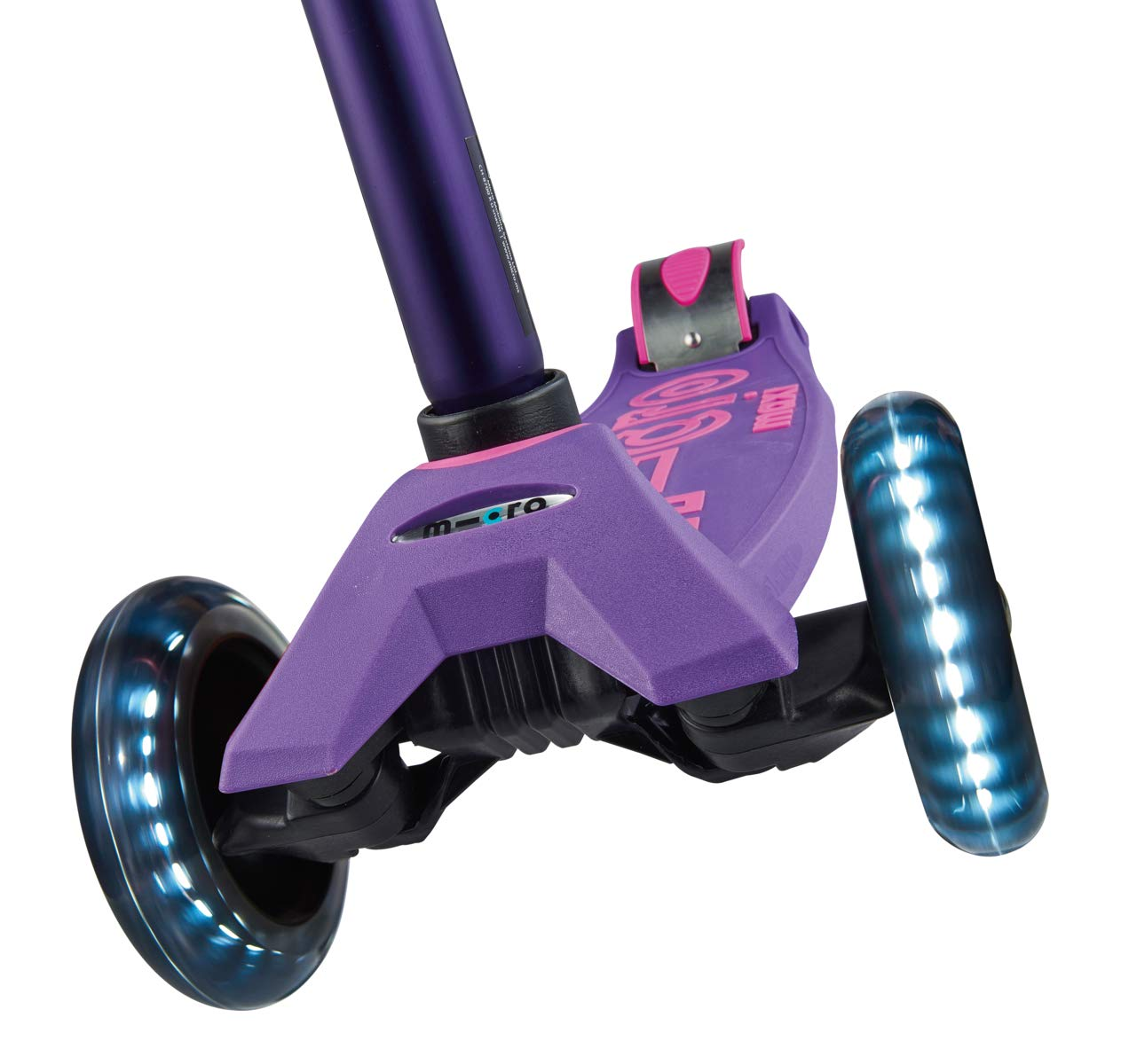 Micro Maxi Deluxe - LED 3-Wheeled, Lean-to-Steer, Swiss-Designed Micro Scooter for Kids with LED Light-up Wheels, Ages 5-12 - Purple by Micro Kickboard