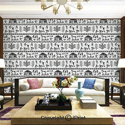 Lionpapa_mural Nature Wall Photo Decoration Removable & Reusable Wallpaper,Ancient Warli Art with Tribal Native American Icon in Rural Folk,Home Decor - 66x96 inches