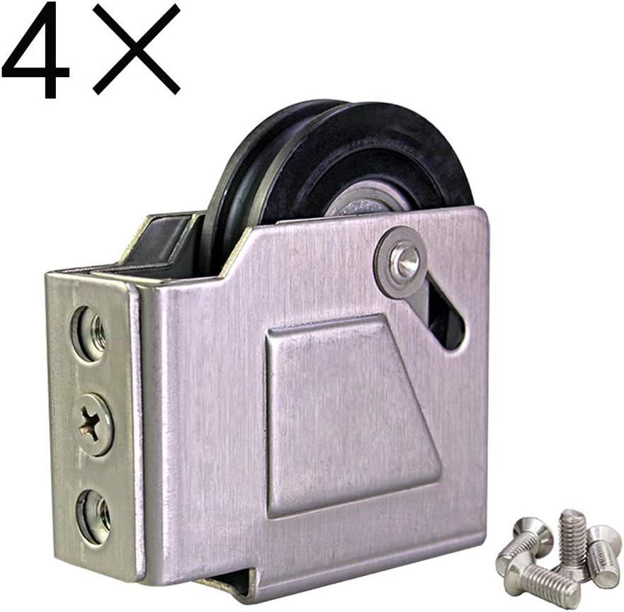 wheel Polea De Puerta Y Ventana De Aleación De Aluminio, Rueda De Cojinete, Rueda De Puerta Corredera, Cojinete De Bolas, Liso Y Silencioso, 4 Piezas: Amazon.es: Hogar