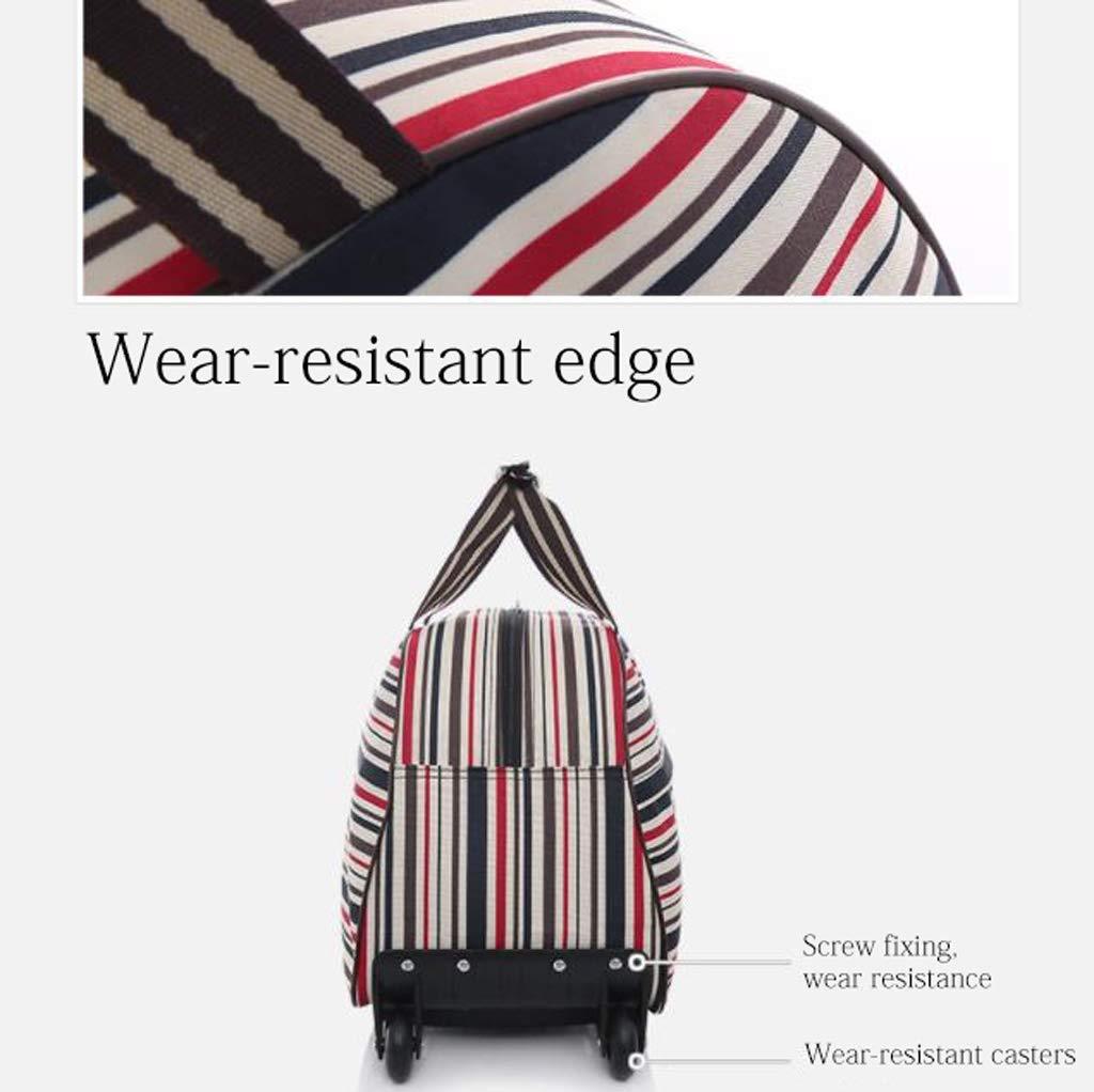 Can Board Waterproof Storage Bag Trolley Bag Large Capacity Suitcase Color : Pink, Size : 65L Handbag Oxford Tarpaulin Mute Wheel Unisex