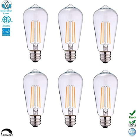 St19 St58 Dimmable Etl Led Edison Light Bulb Filament Vintage Classic Light Bulb E26 Base 4 5watt 40w Equivalent For Home Restaurant 2700k Warm White 450lumen Cri 80cri Screw Clear Glass 6 Pack Amazon Com