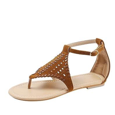Styledress Damen Sandalen Frauen Sommer Rom Sandalen Damen Zehentrenner Schuhe Flache Gewebte Sandalen Slipper...