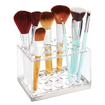 16a92dc17828 mDesign Plastic Makeup Brush Storage Organizer with 15 Slots for Bathroom  Countertop, Vanity to Hold Eye/Lip Pencils, Lip Gloss, Liners, Lipstick -  ...