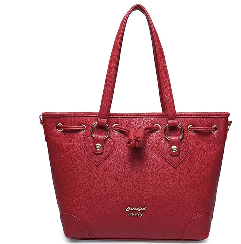 Red leather quality good woman Brown black knapsack handbag messenger bag bag B2522