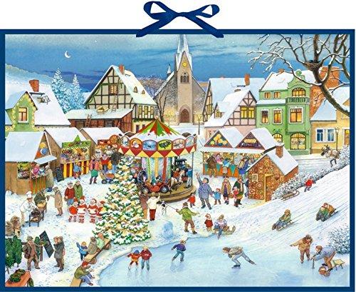 Wand-Adventskalender - Weihnachtsmarkt im Dorf