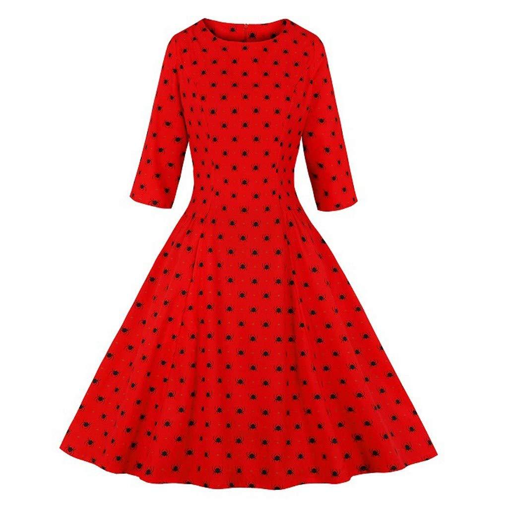 RINKOUa Women's Role Playing Dress, Womens Halloween Print Dress Round Neck Zipper Pocket Hepburn Party Dress by RINKOUa