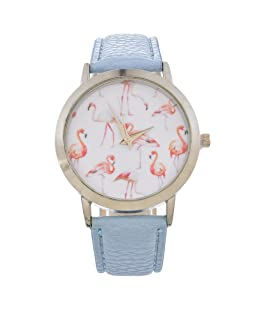 Funique Lady Girl Pink Flamingo Dial Light Blue PU Leather Business Quartz Analog Wristwatch (color1)