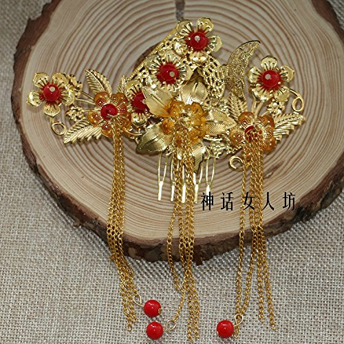 usongs Mythical golden costume headdress hairpin step shake hairpin hairpin Xiu Royal comb ornaments accessories hair accessories ()