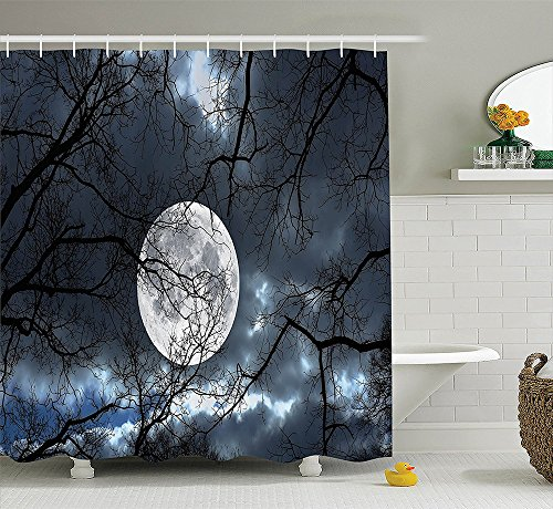 [Farm House Decor Collection Full Moon at Night in the Forest Winter Time Mystical Dramatic Days Luna Photo Polyester Fabric Bathroom Shower Curtain Blue Black] (The Music Man Costumes For Sale)