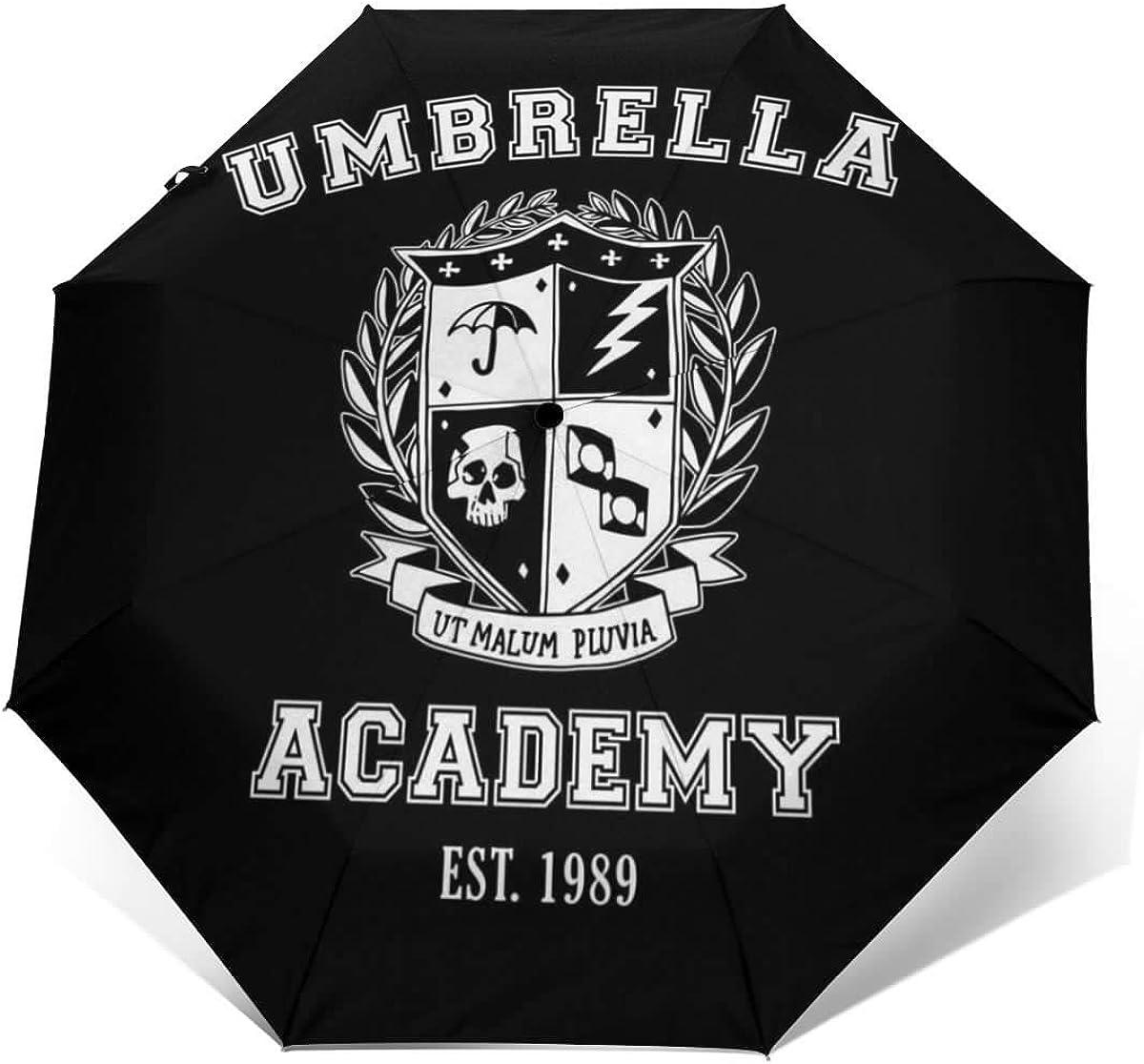 autom/ático Paraguas de Viaje Plegable autom/ático Yuantaicuifeng Umbrella Academy Varsity School Crest A Prueba de Viento Compacto Paraguas Plegable de Apertura y Cierre