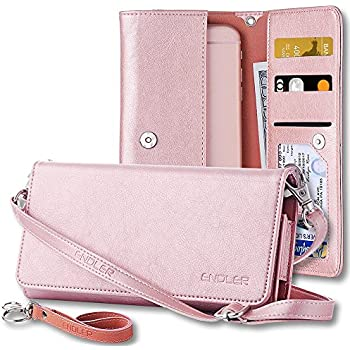 Smartphone Wallet, ENDLER Clutch Purse[Crossbody Strap/Wristlet] Bag PU Leather Pouch Smart Phone Case for iPhone 7 Plus/7, iPhone 6s/6s Plus, Samsung Galaxy S8 Edge/S7/Note,HTC,LG,Google-Rose Gold