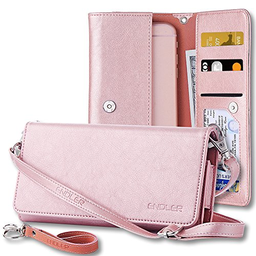Smartphone Wallet, ENDLER Clutch Purse[Crossbody Strap/Wristlet] Bag PU Leather Pouch Smart Phone...