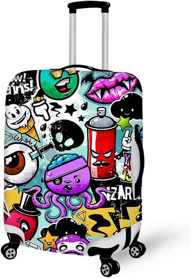 Cartoon Graffiti 18-21 inch Travel Luggage Cover Spandex Suitcase Protector Washable Baggage Covers