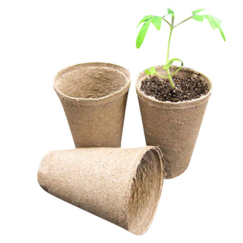 Jiffy 3'' Round Deep Peat Pots - OMRI Listed Organic - 1080ct Case
