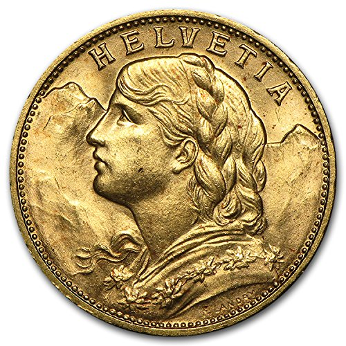 1897 CH - 1949 Swiss Gold 20 Francs Helvetia BU Gold Brilliant (1897 Coin)