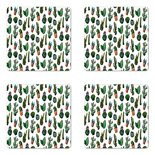 Ambesonne Cactus Coaster Set of Four, Sketchy Spiked Mexican Garden Foliage Boho Hand Drawn Style Line Art Cacti in Pots, Square Hardboard Gloss Coasters for Drinks, Multicolor by Ambesonne