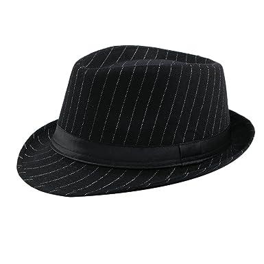 fd8e1eff522 Zhhlaixing Mens Lightweight Cotton Jazz Trilby Hat Adult Fashion Stripe  Casual Gentleman Cap 56-58cm  Amazon.co.uk  Clothing