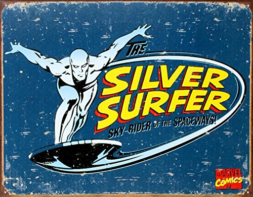 Silver Surfer Tin Sign 16 x 12in