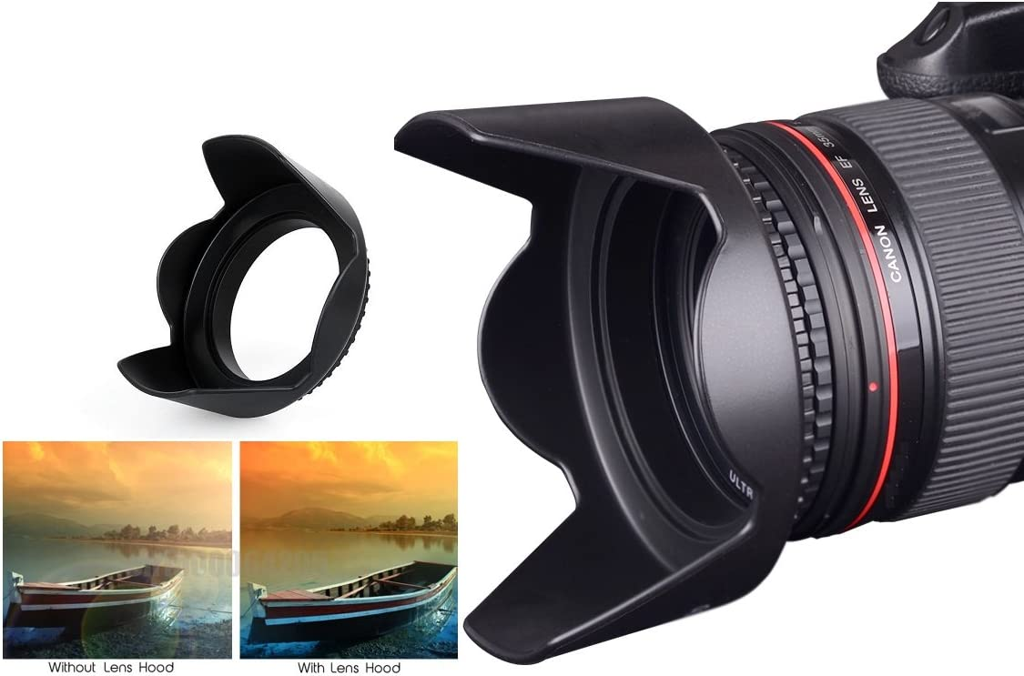 Pro Hard Lens Hood with Collar Clamp for Canon EOS Rebel SL3 58mm Compatible