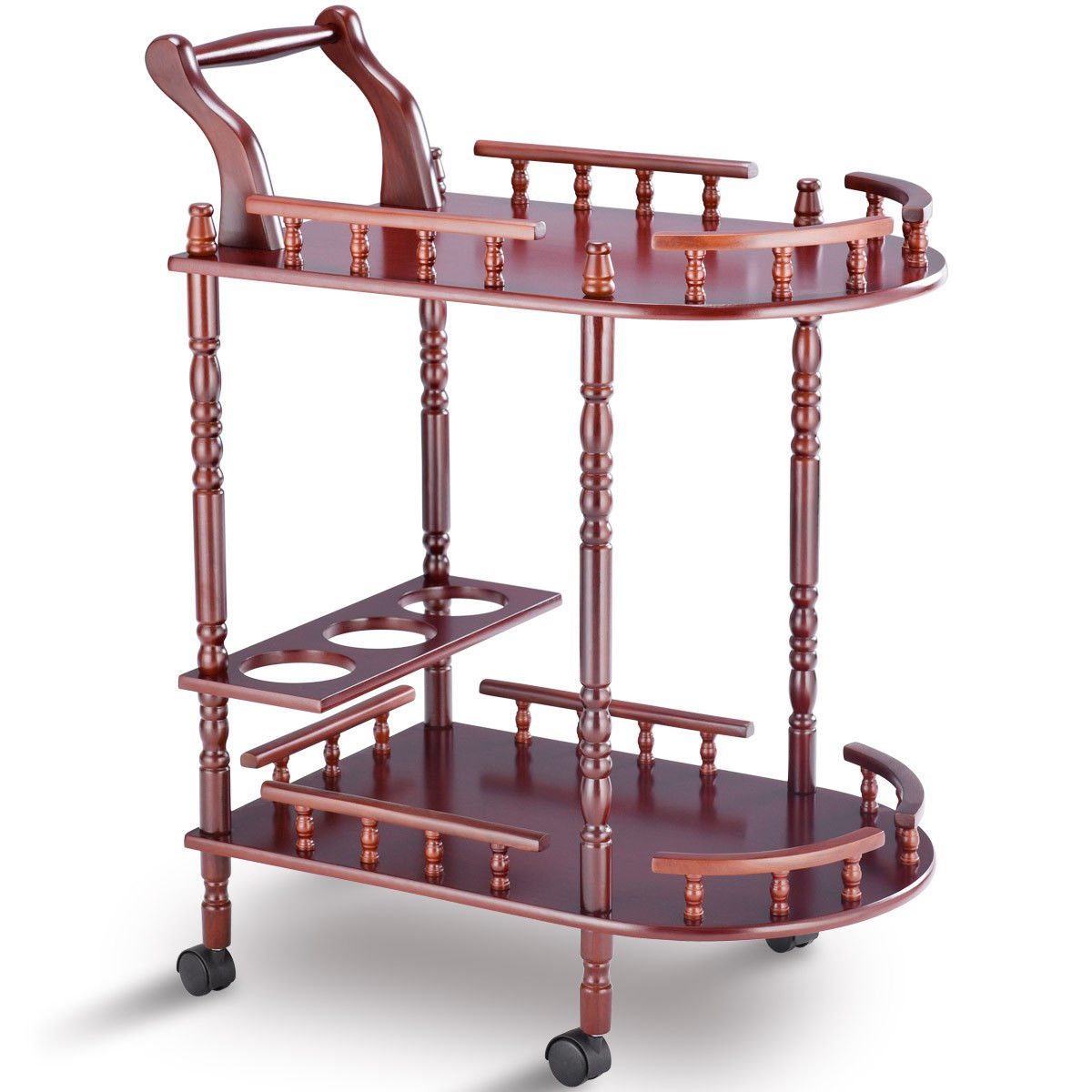 Eosphor US Rolling Serving Trolley Cart Bar Cart Trolley Two-Tier Rack Rolling Wine Rack Hotel Cherry Wood