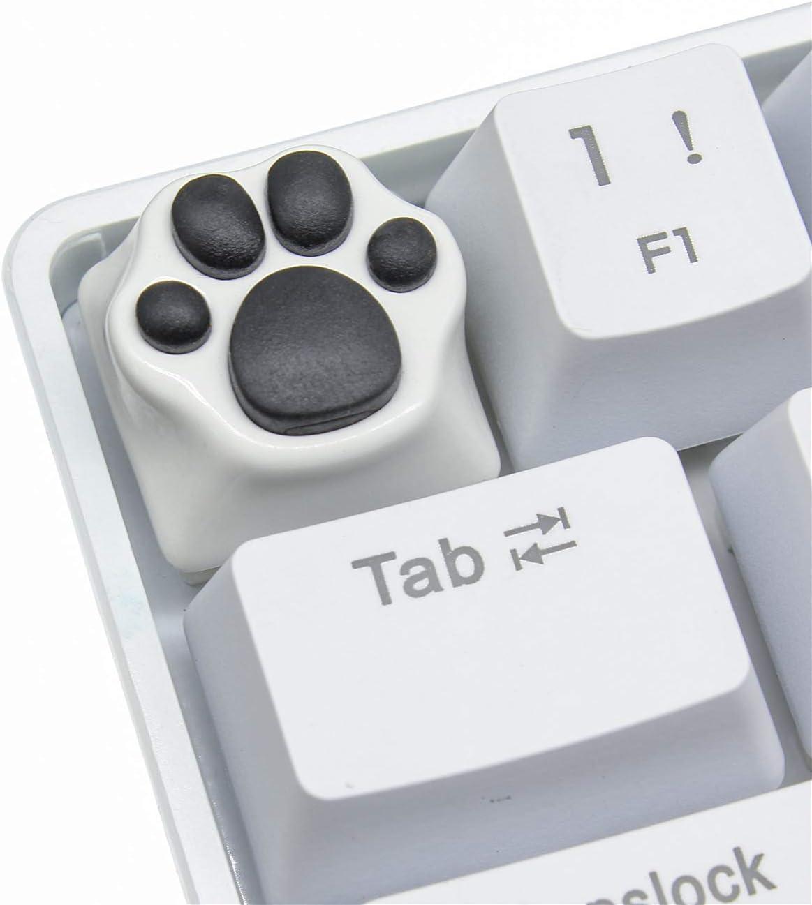 Keycap ESC de Garras del Gato Hecho a Mano de Goma-Metal Teclas Personalizadas para 60% Teclado Mecánico Gaming Cherry MX (Negro-Blanco)