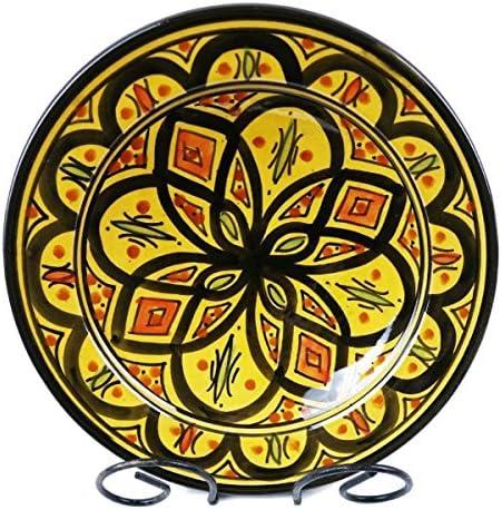 Platos de cerámica pintados a mano, cerámica marroquí, plato decorativo de tamaño pequeño, plato llano, pieza única, amarillo, Klein: Amazon.es: Hogar