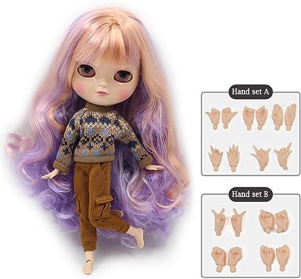 "ICY Doll Joint Body VERY DARK SKIN Long PURPLE Hair 12/"" eyes Colors Change Nude"