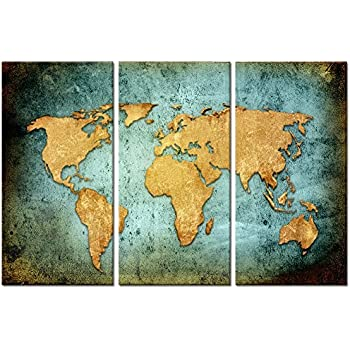Amazon visual art decor retro world map poster giclee canvas large size vintage world map poster printed on canvasblue sea yellow map printing mural sciox Images