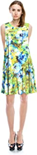 product image for JC Womens Flower Print A Line Flare Flowy Dress Small to Plus Size Made in USA