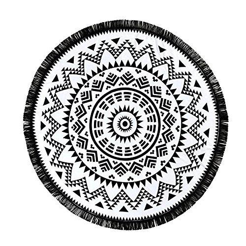 HUAMING Round Tassel Beach Towel Yoga Mat Thin Quick-Dry, Travel Beach Swimwear Summer Must Have (Black)