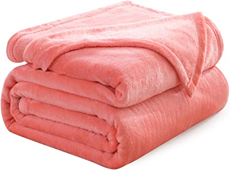 Coral Plush Fleece Throw Blanket 50 x 60 Soft Cozy Warm Comfort Solid Color NEW!