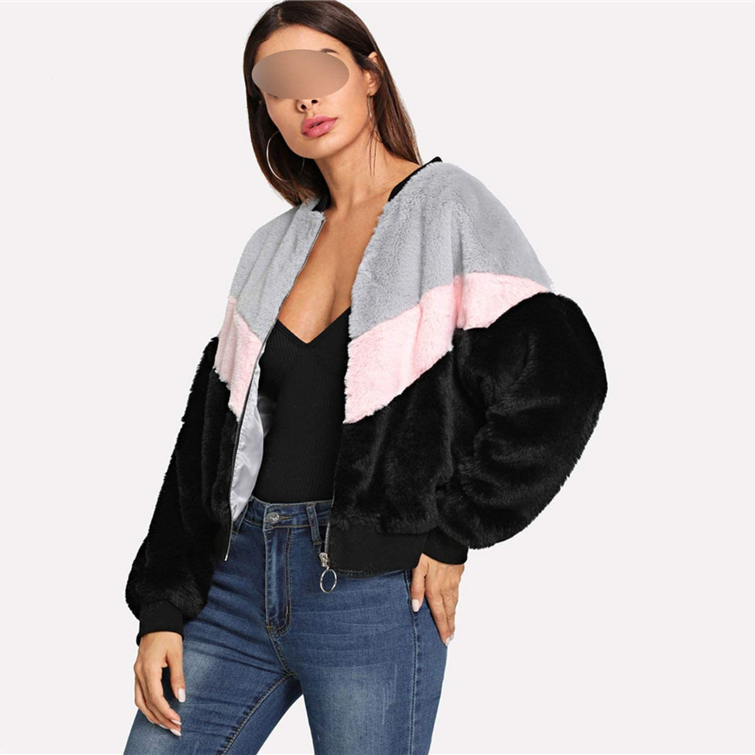 contentment Multicolor Fuzzy Zipper Up Colorblock Stand Collar Campus Jacket
