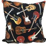 Filled Novelty Accent Throw Pillow Guitars Rock & Roll