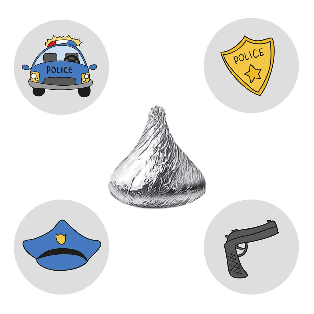 MAGJUCHE Police Party Candy Stickers, Boy or Girl Birthday Party Favor Labels, Fit Hershey's Kisses, 304 Count
