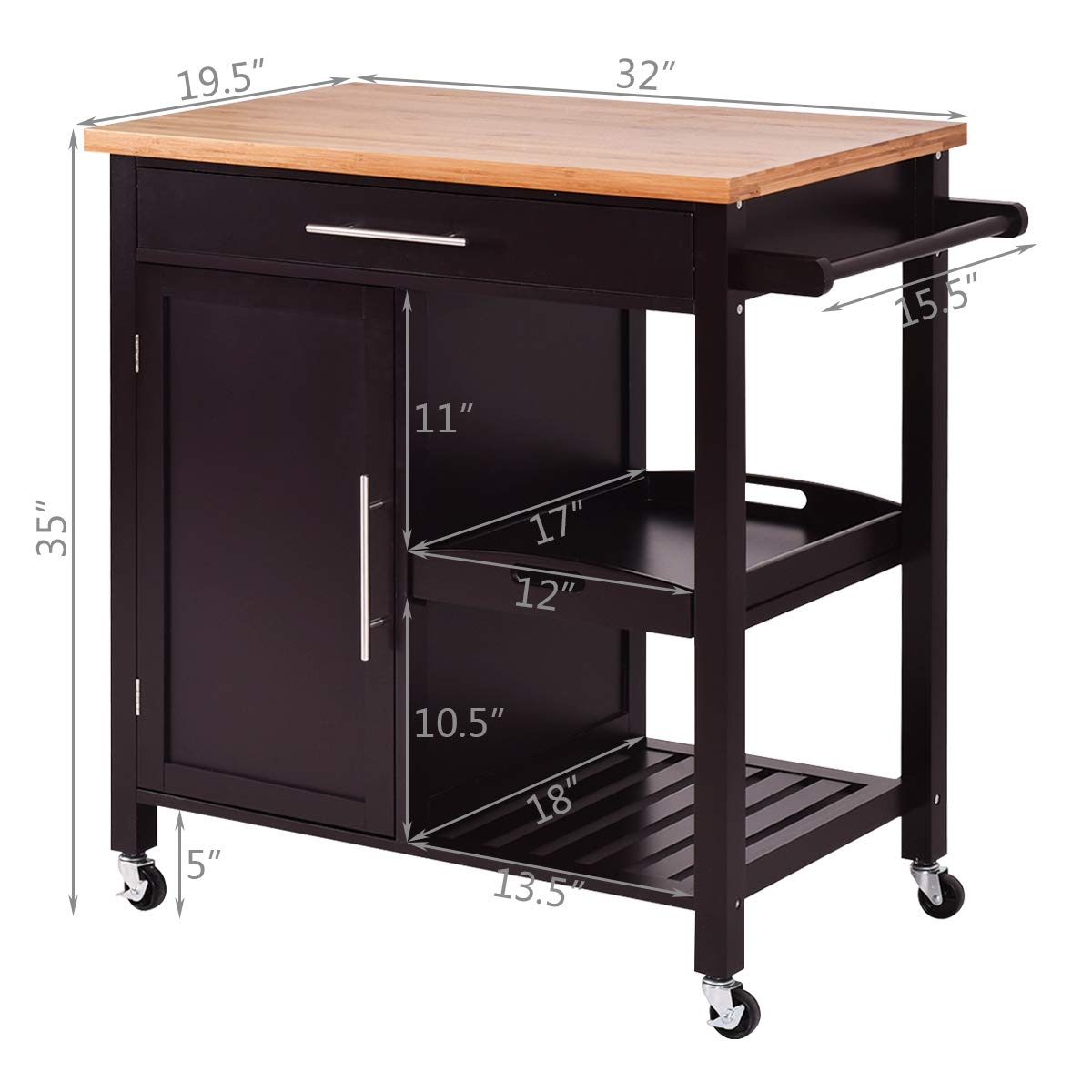 Giantex Kitchen Trolley Cart Wood Rolling Island Cart Home Restaurant Kitchen Dining Room Serving Utility Cart w/Bamboo Top Storage Cabinet Bigger Drawer Removable Tray Shelf, Brown by Giantex (Image #7)