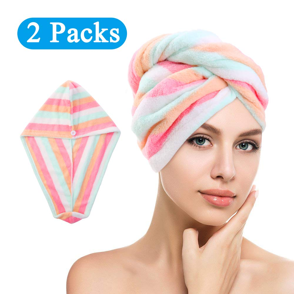 Soft Microfiber Quick Dry Hair Towels Water-Absorbent Dry Hair Cap with Button