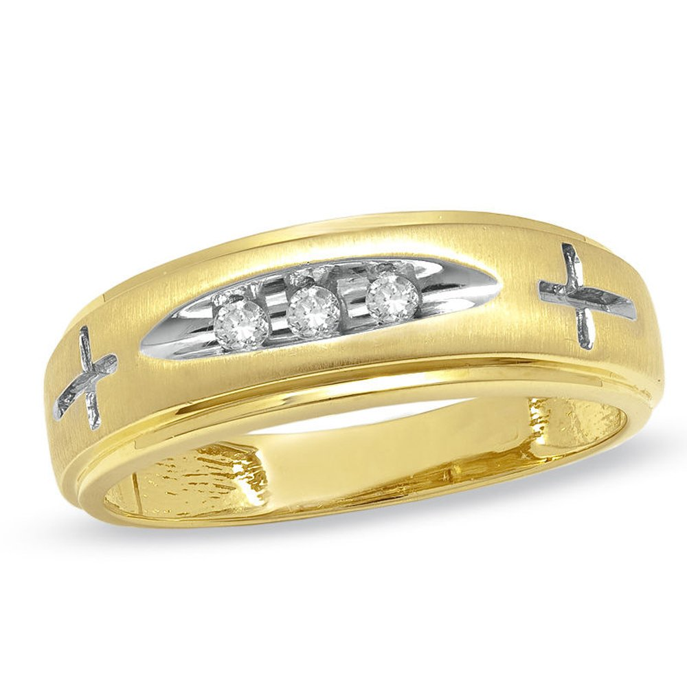 Silvercz Jewels Ladie's Accent Cross Wedding Band Ring With 0.5 Cts D/VVS1 CZ 14K Yellow Gold Fn