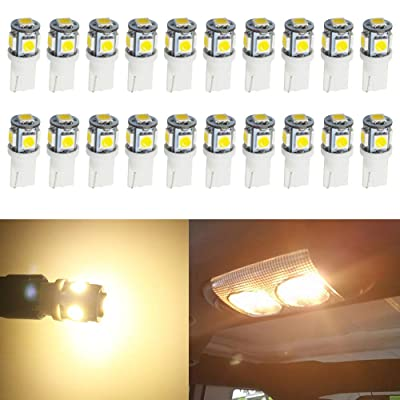 JAVR - Pack of 20 - Bright Warm White 194 T10 168 2825 W5W Car Interior Replacement LED Light Bulb - 5th Generation 5050 Chipsets 5SMD Lighting Source for 12V License Plate Map Dome Lights Lamp: Automotive [5Bkhe0810973]