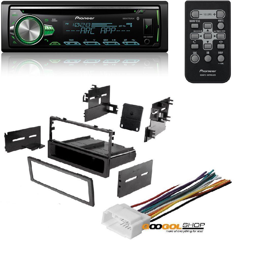 Pioneer CD Receiver with MIXTRAX, Built-in Bluetooth, and Color Customization W/ Car Radio Stereo Dash Install Mounting Trim Bezel Panel Kit Mount by Cache, Pioneer, American International