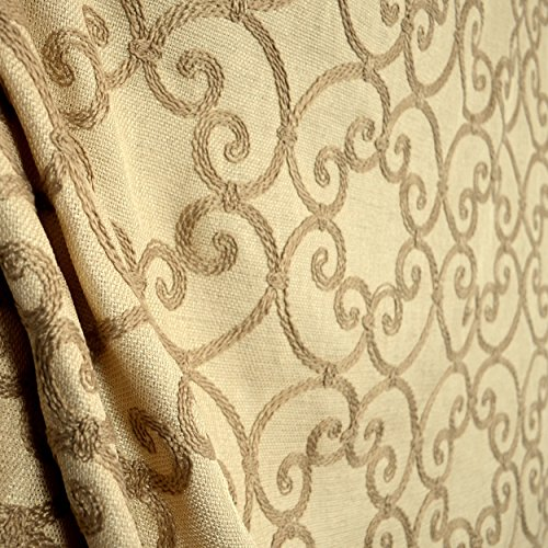 Leiden Gold Scroll Embroidered Polyester Drapery Fabric