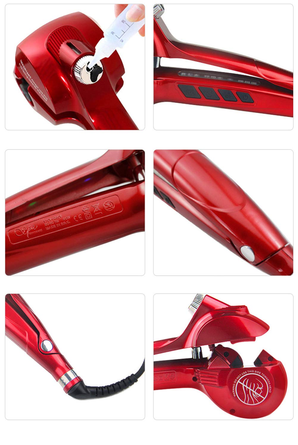 Amazon.com: Hair Curler, Professional Automatic Steam Ceramic Curling Wand, Auto Rotating Spray Steamer Curler- Spiral Hair Curling Iron Styling Tool,Red: ...