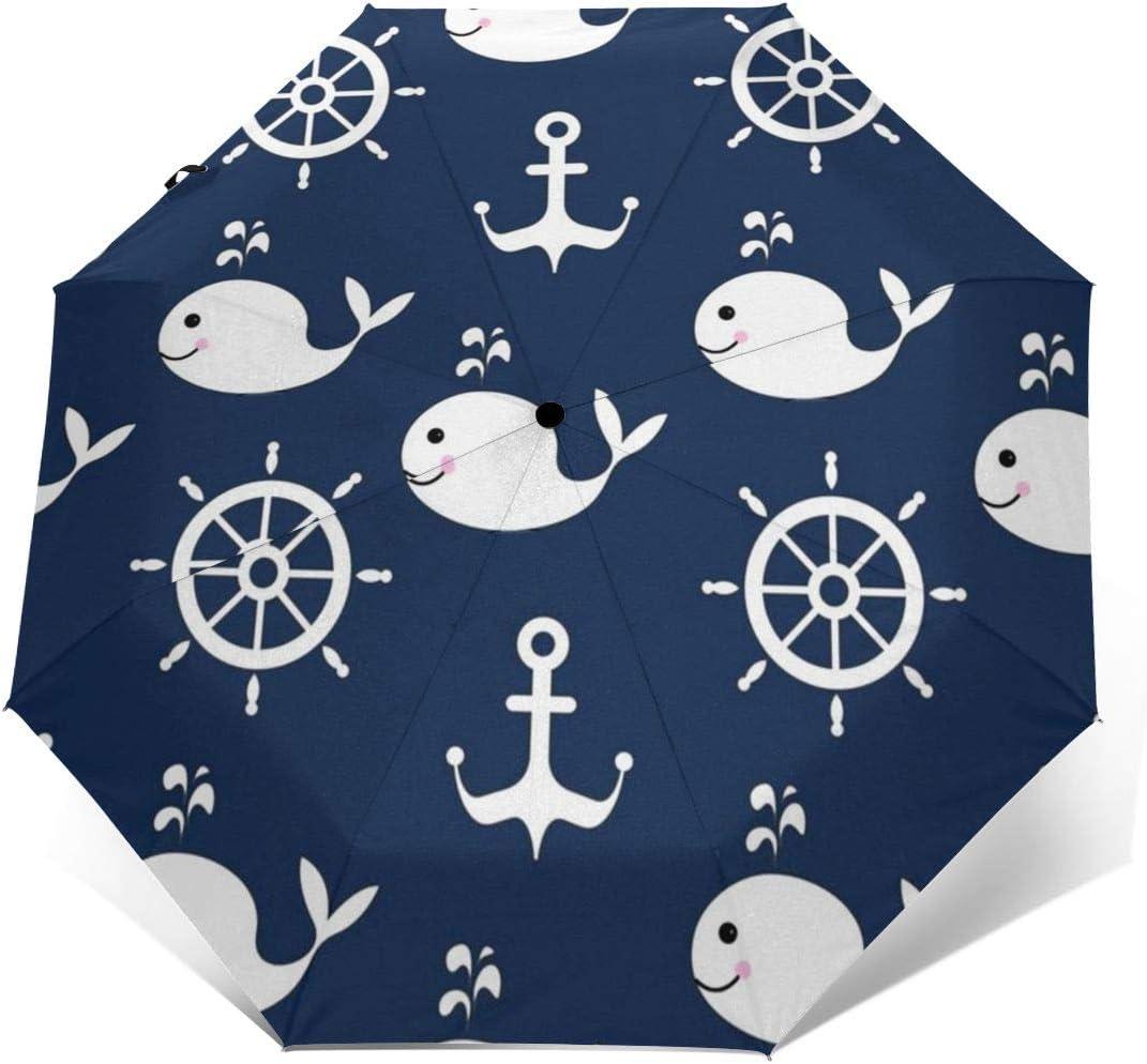 Nautical Whale Fish Wheel Anchor Umbrella Compact Rain/&Wind Repellent Umbrellas Sun Protection With Anti UV Coating Travel Auto Folding Umbrella