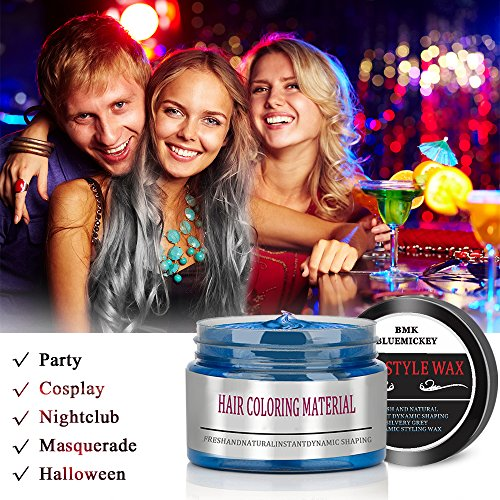 BMK White Color Hair Wax Matte Hairstyle Pomades Disposable Temporary Modeling Natural Hair Styling Wax for Party, Cosplay, Nightclub, Masquerad, Halloween