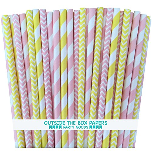 Outside the Box Papers Pink and Yellow Stripe Chevron Paper Straws 7.75 Inches 100 Pack Pink, Yellow, White
