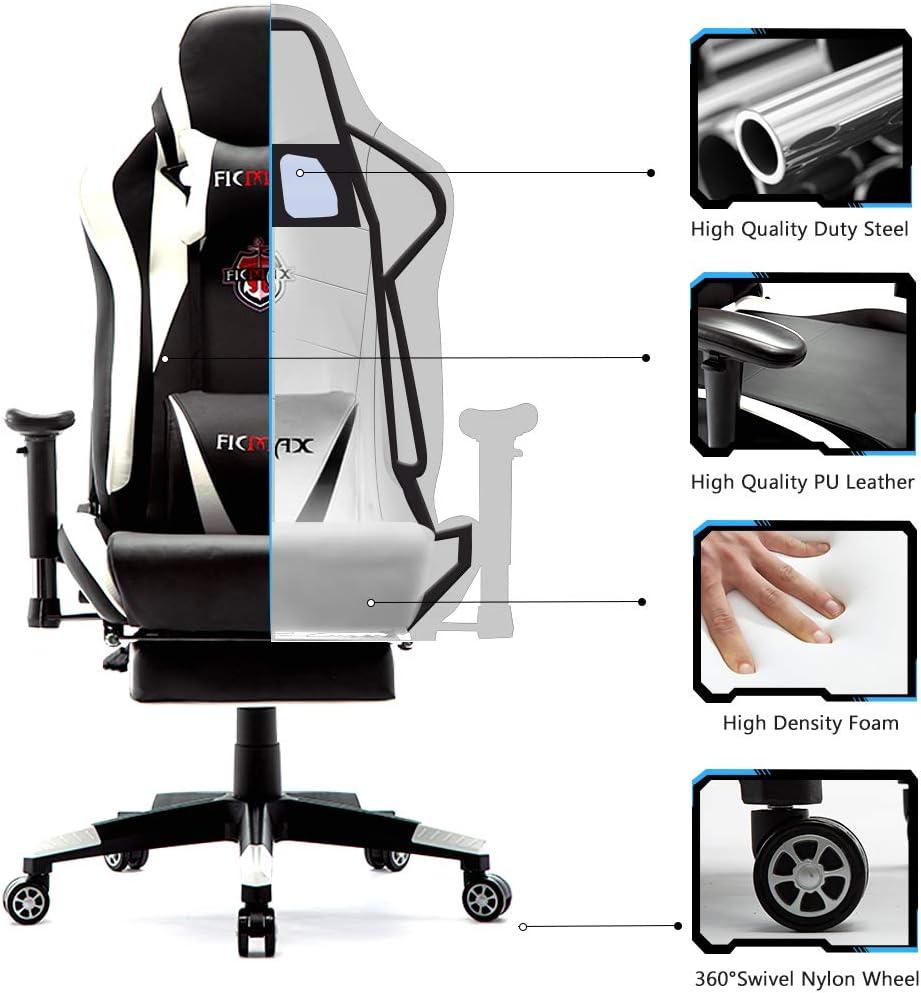 sillas de Juego para E-Sports para Jugador Silla de Oficina con reposapi/és y para reposacabezas Ficmax Silla ergon/ómica para Juegos Silla para computadora con Masaje de Soporte Lumbar