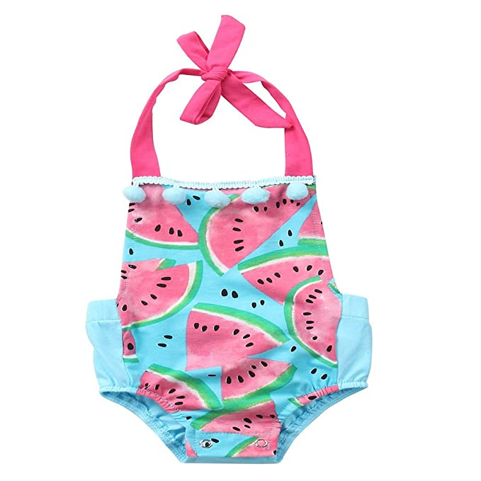 7dd0520e1af4 Summer Watermelon Newborn Baby Girls Printed Romper Sleeveless Backless  Halter Jumpsuit Sunsuit Clothes (100