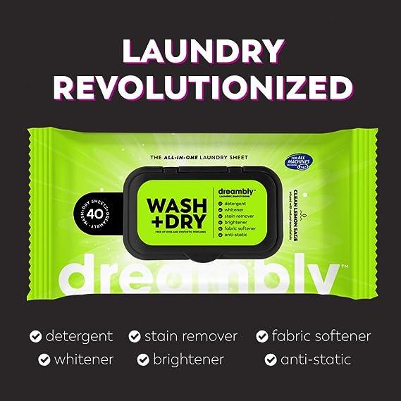 Dreambly Laundry Sheets - Juego de 5 sábanas de detergente ...