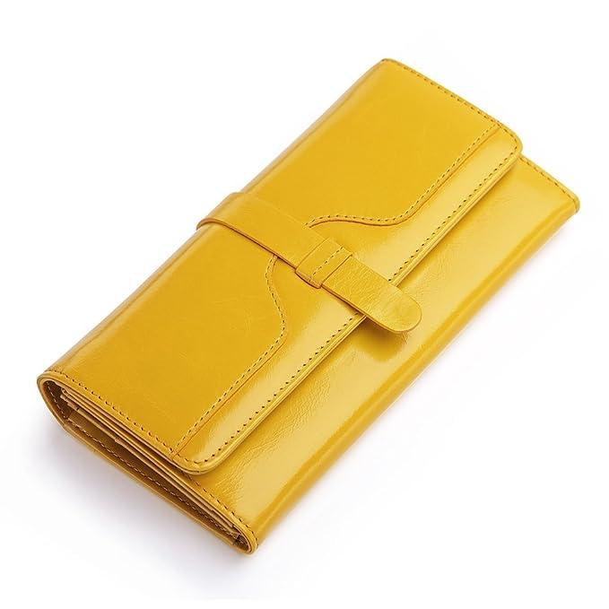 Teemzone Monedero Cartera de Embrague Mujer Piel Casual Larga Billetera Cremallera Grande (Amarillo)